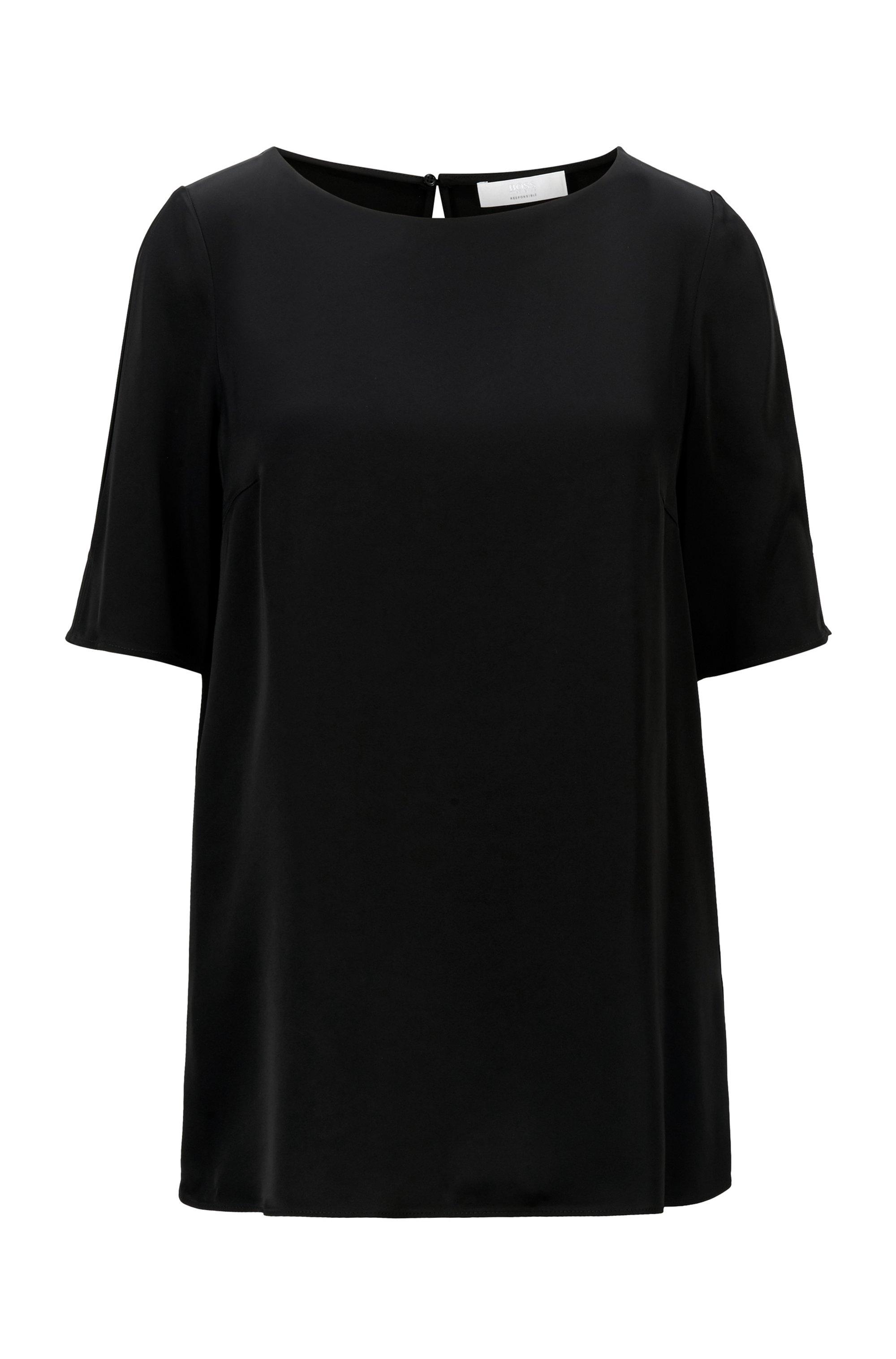 Regular-fit top in satin fabric with shoulder slits, Black