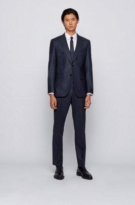 Slim-fit three-piece suit in a wool blend, Dark Blue