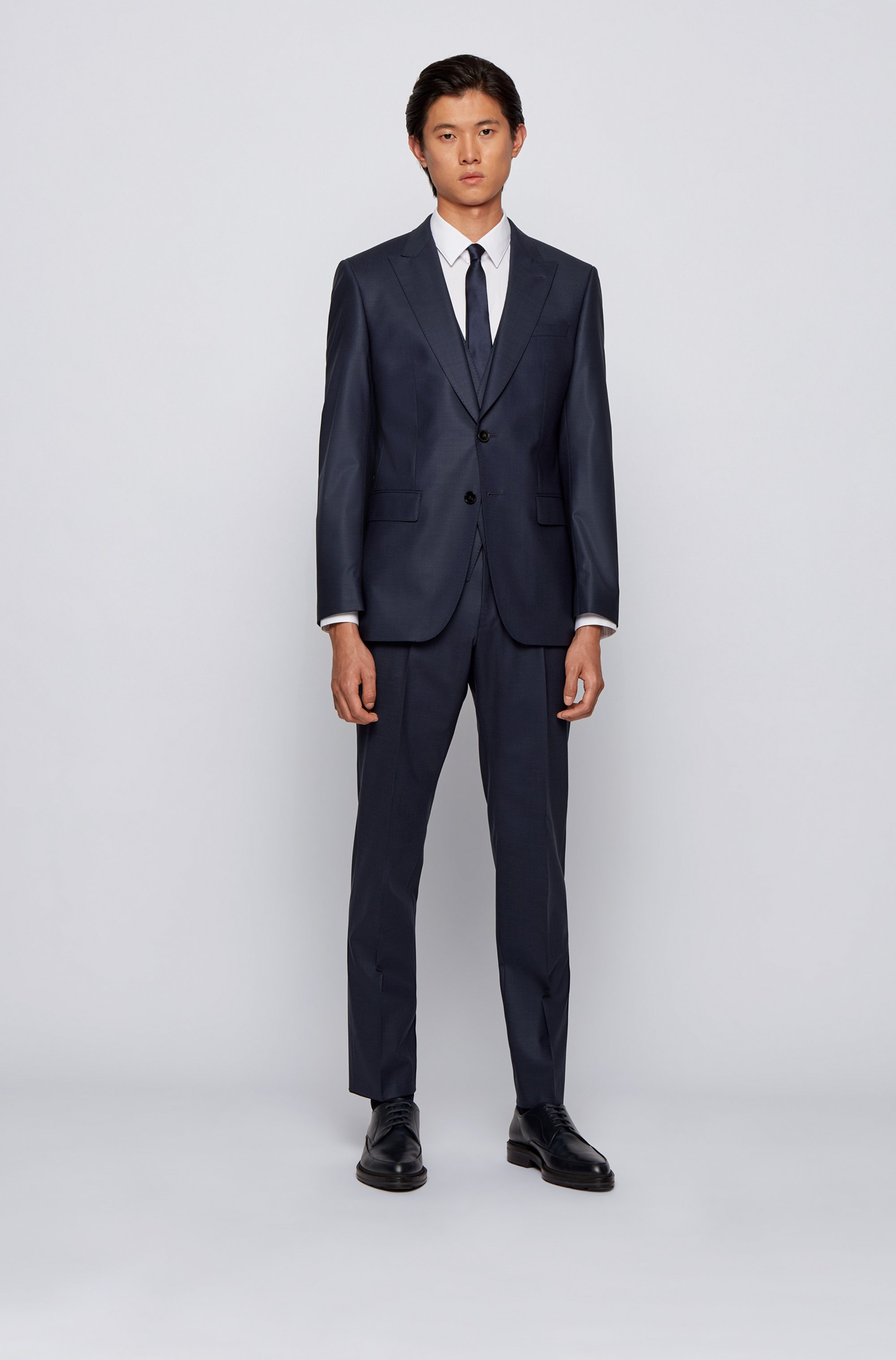 Slim-fit three-piece suit in a wool blend