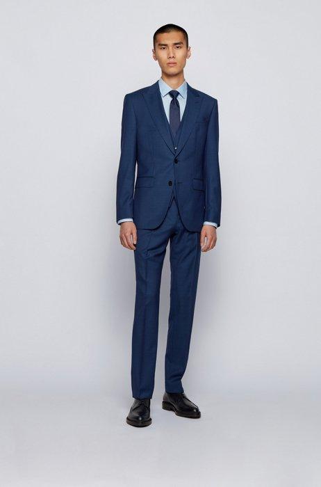 Traje con chaleco slim fit en lana virgen microestampada, Azul oscuro