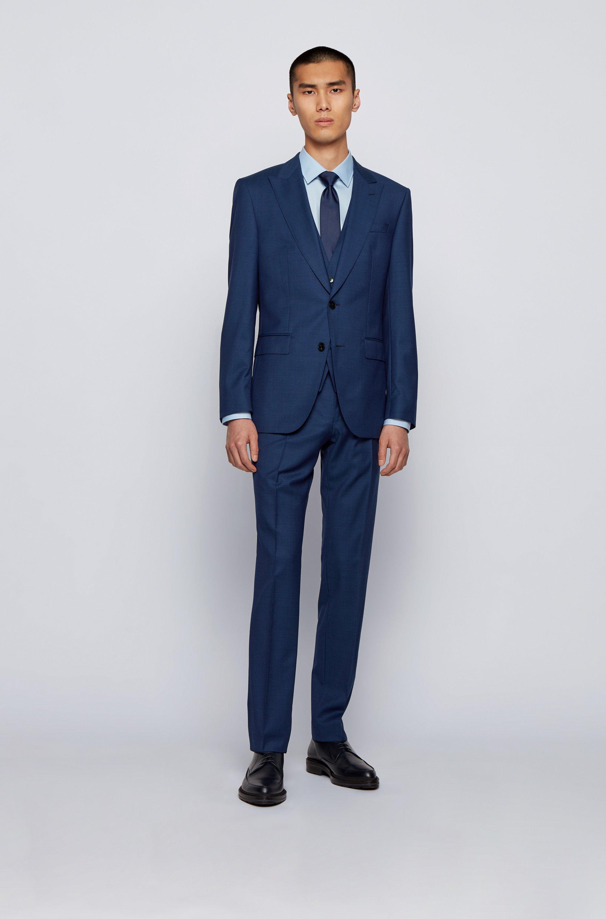 Slim-fit three-piece suit in micro-patterned virgin wool