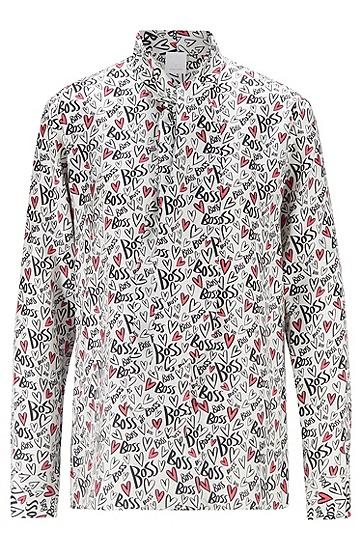 JUSTIN TEODORO系列心形印花纯真丝领结女士衬衫,  962_多色