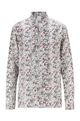 Tie-neck blouse in pure silk with heart print, Patterned
