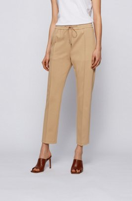 Relaxed-fit trousers with drawstring waistband, Beige