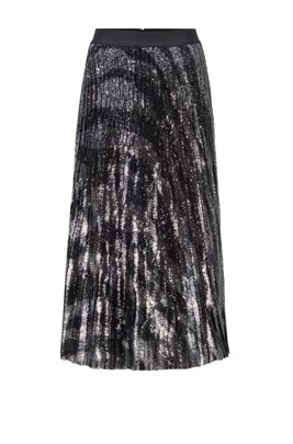 Sequinned midi-length skirt in zebra-print plissé fabric, Patterned