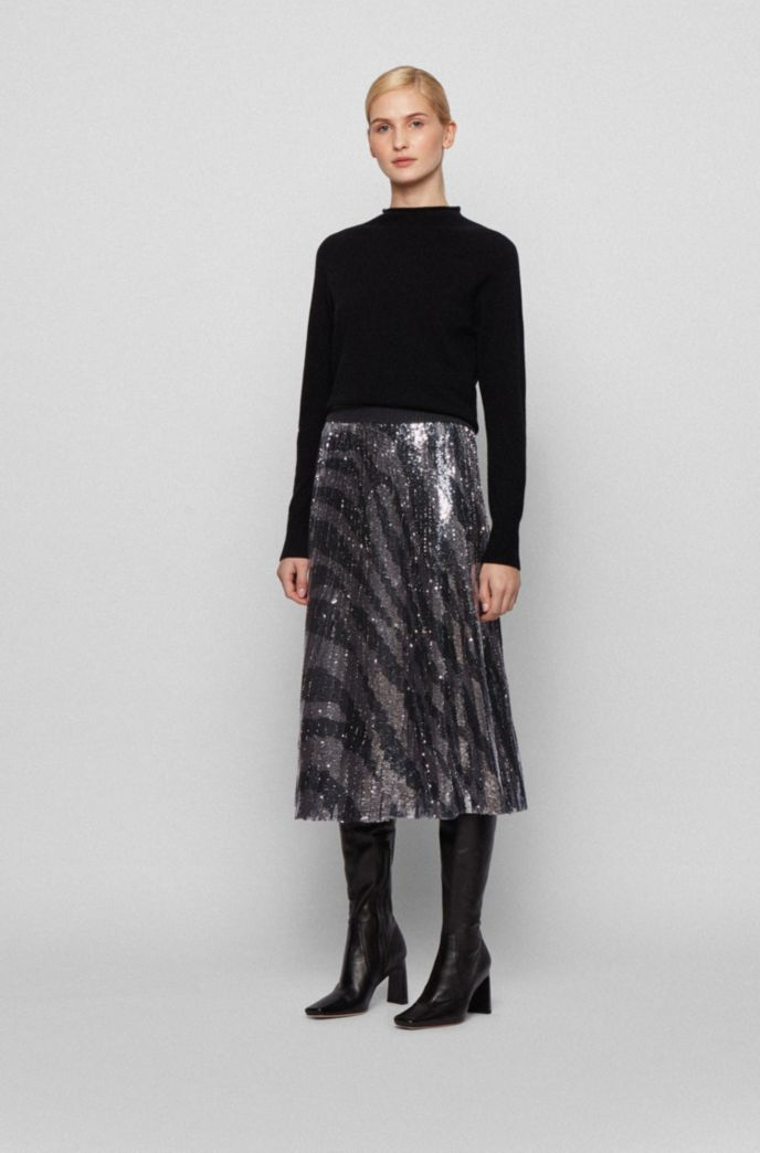 Sequinned midi-length skirt in zebra-print plissé fabric