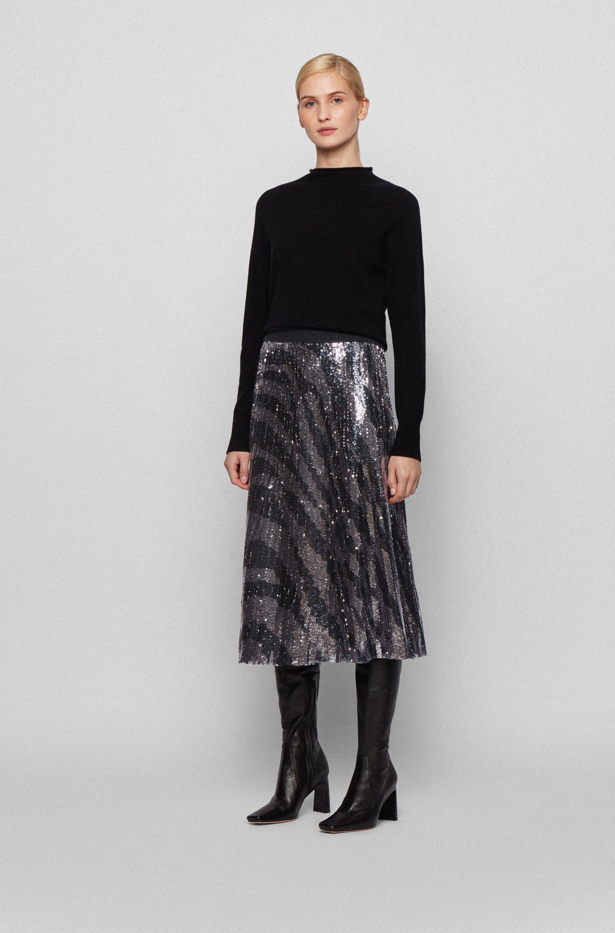 Sequinned midi-length skirt in zebra-print plissé fabric