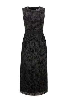 Sparkly sleeveless dress with embroidered tulle overlayer, Patterned