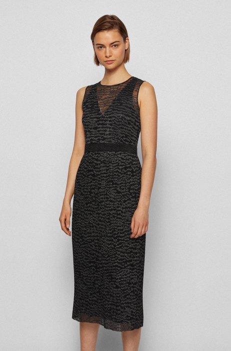 Glinsterende mouwloze jurk met bovenlaag van geborduurde tule, Bedrukt