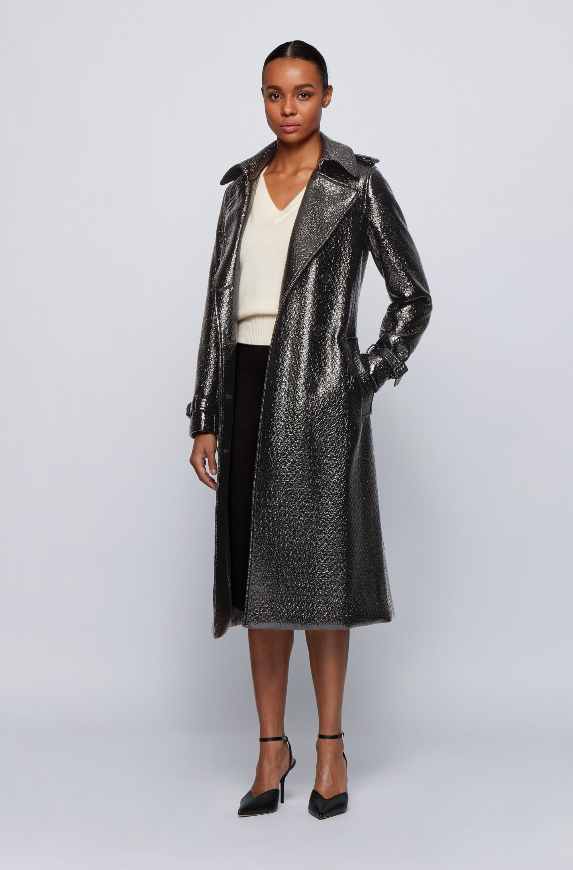 Crocodile-effect trench coat in lacquered faux leather