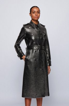 Crocodile-effect trench coat in lacquered faux leather, Black