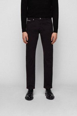 Slim-fit jeans in overdyed super-stretch denim twill, Black
