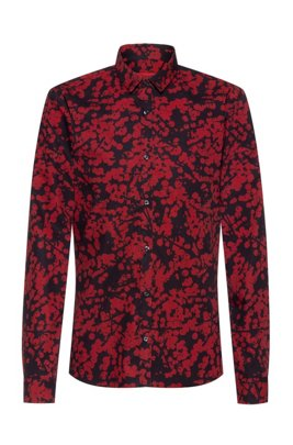 Cotton-canvas extra-slim-fit shirt with cherry-blossom print, Red