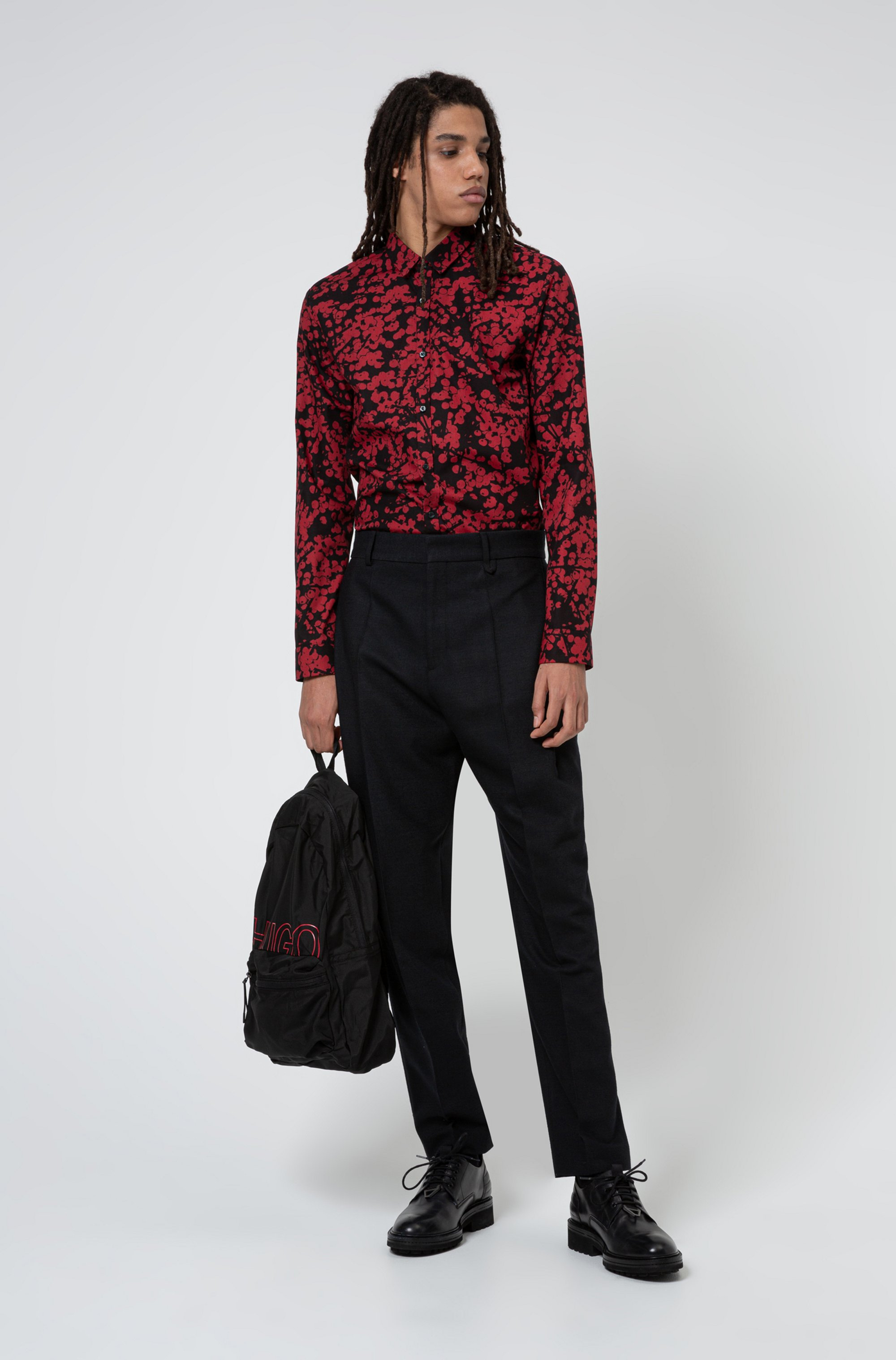Cotton-canvas extra-slim-fit shirt with cherry-blossom print