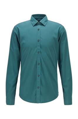 Slim-fit shirt in mercerised stretch cotton, Green