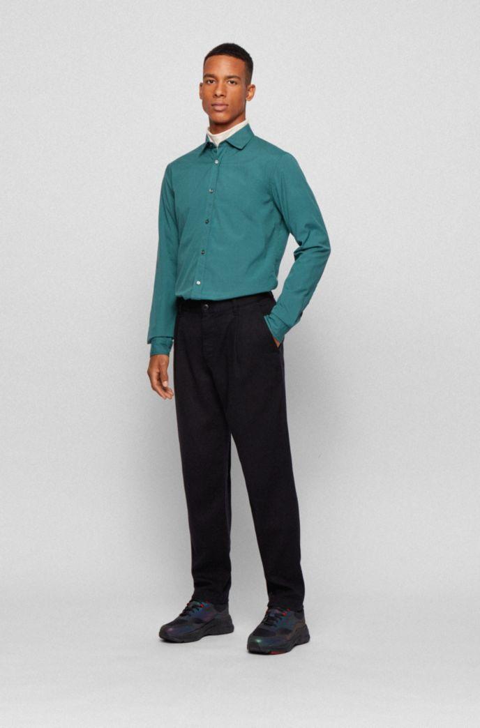 Slim-fit shirt in mercerised stretch cotton