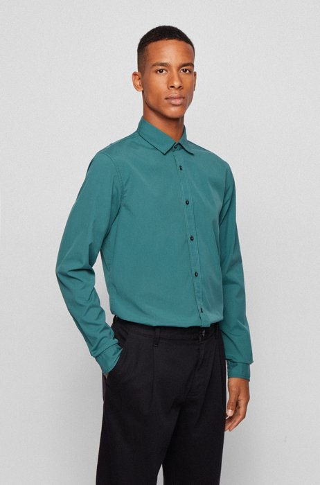 Camisa slim fit de algodón elástico mercerizado, Verde