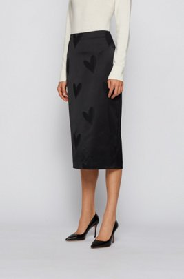 Slim-fit pencil skirt with tonal heart motifs, Patterned