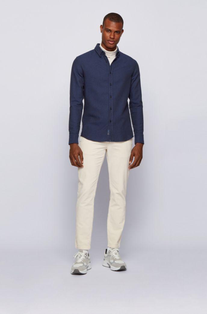 Slim-Fit Hemd aus gebürsteter Baumwolle mit Fischgrät-Muster