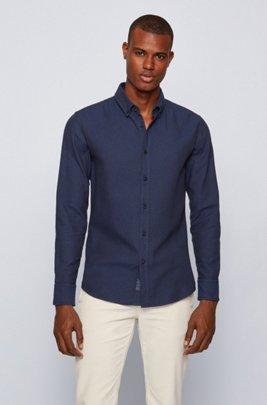 Slim-Fit Hemd aus gebürsteter Baumwolle mit Fischgrät-Muster, Dunkelblau