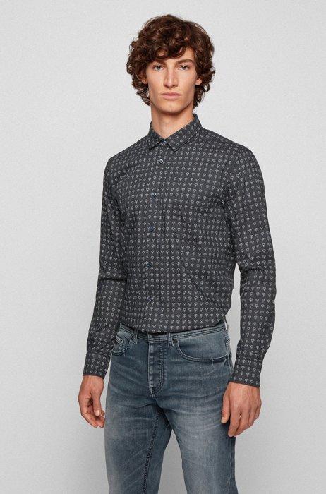 Slim-fit shirt in patterned stretch poplin, Dark Blue