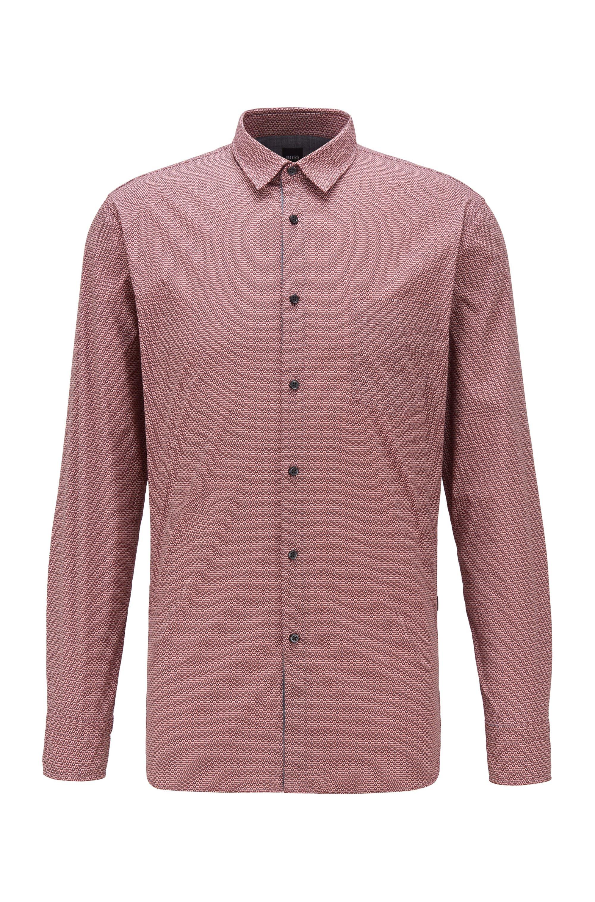 Gemustertes Slim-Fit Hemd aus Stretch-Popeline, Dunkelrot