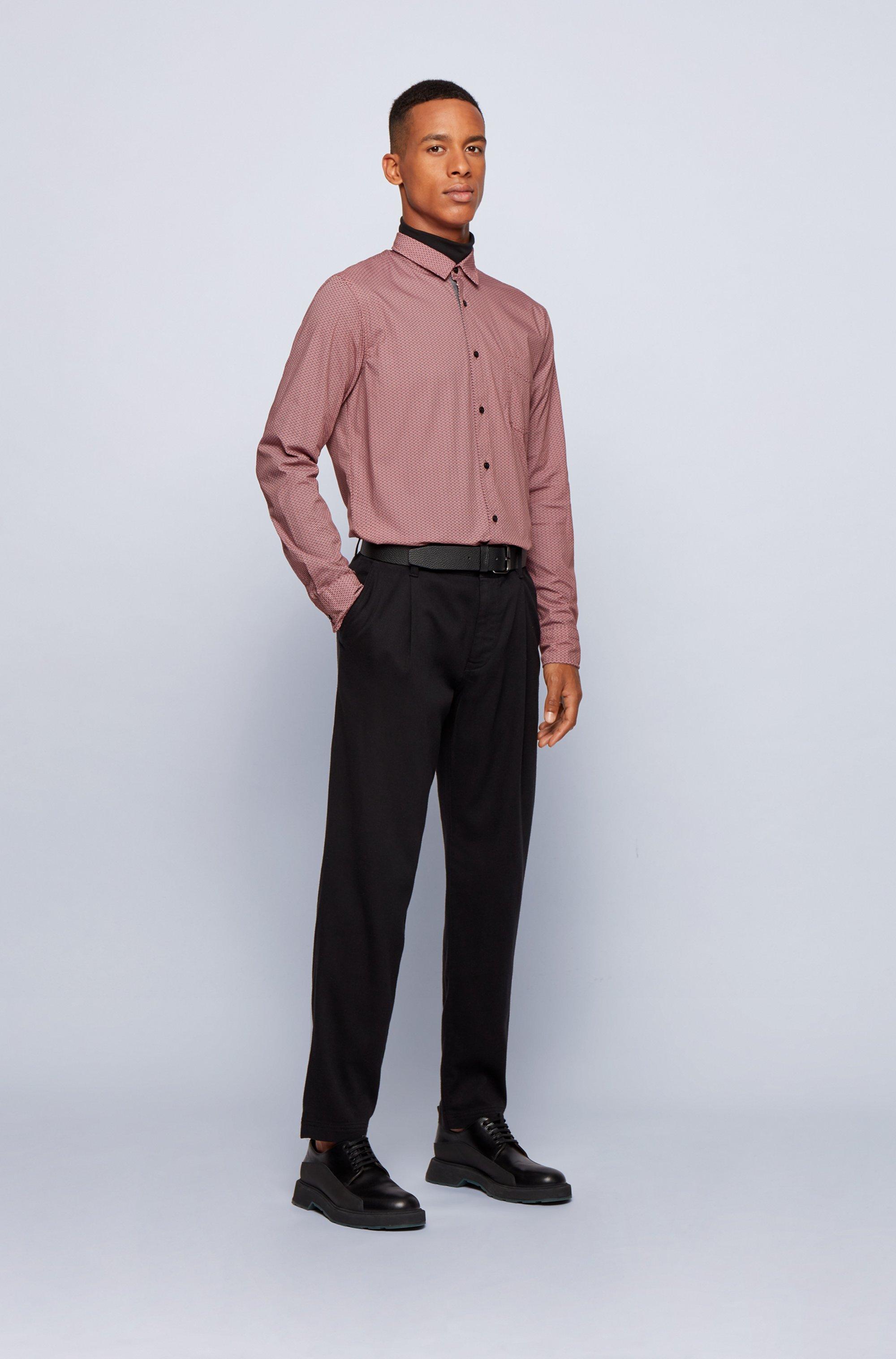 Gemustertes Slim-Fit Hemd aus Stretch-Popeline