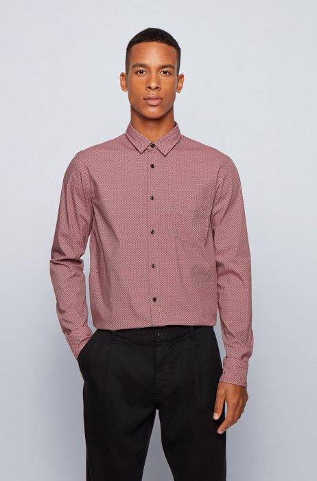 Slim-fit shirt in patterned stretch poplin, Dark Red