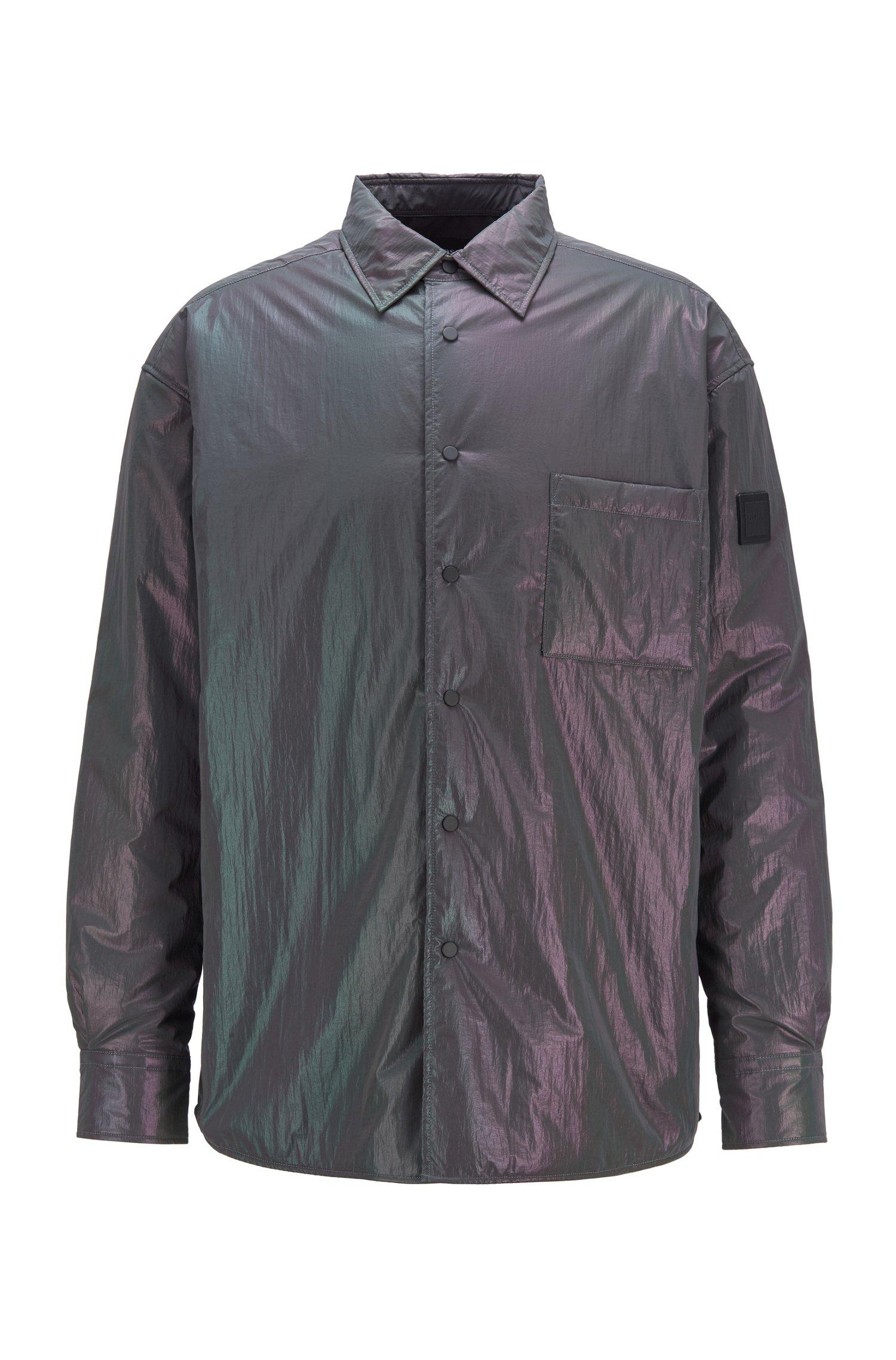 Padded overshirt in iridescent fabric , Dark Grey