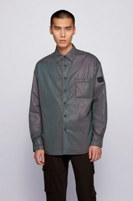 Padded overshirt in iridescent fabric , Dark Grey