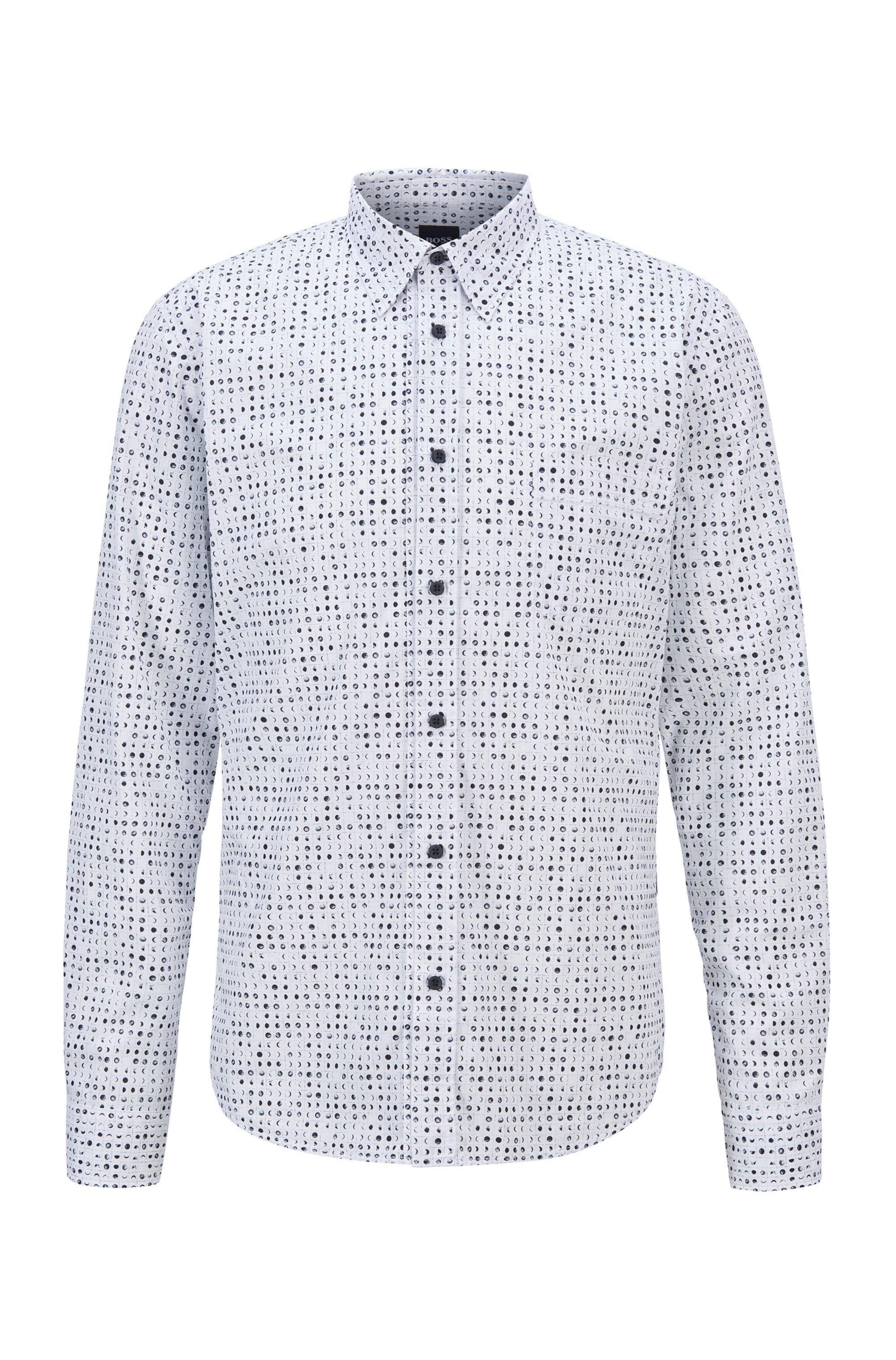 Camicia slim fit in popeline di cotone con motivo della stagione, Bianco
