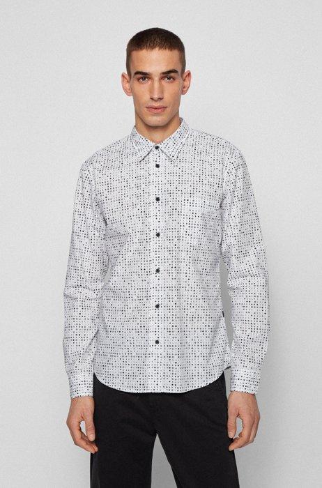 Slim-Fit Hemd aus Popeline mit Print der Saison, Weiß