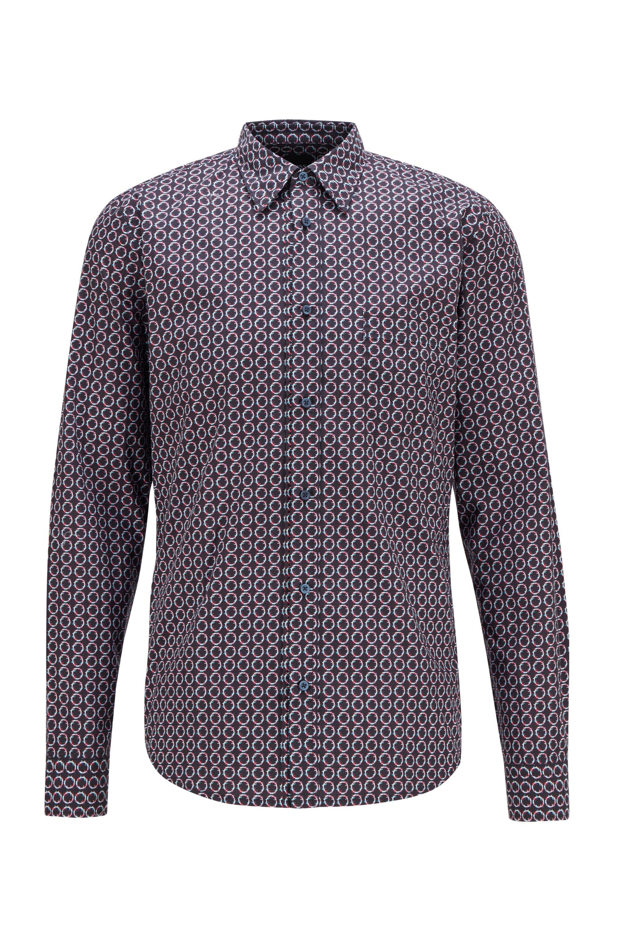 Slim-fit shirt in cotton poplin with seasonal motif, Dark Blue