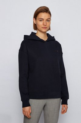 Logo-print hooded sweatshirt in a terry-cotton blend, Black