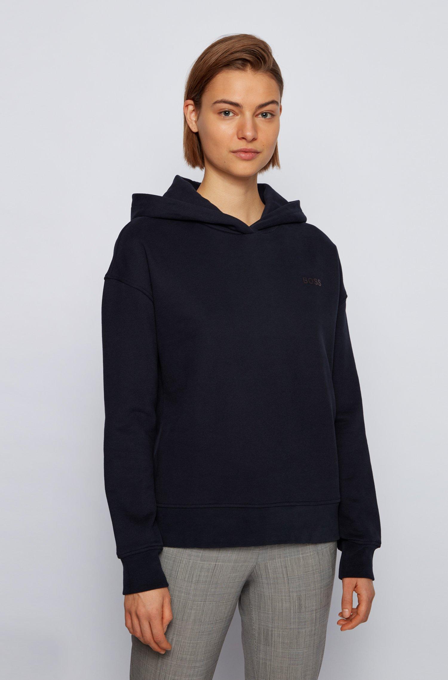 Logo-print hooded sweatshirt in a terry-cotton blend, Black