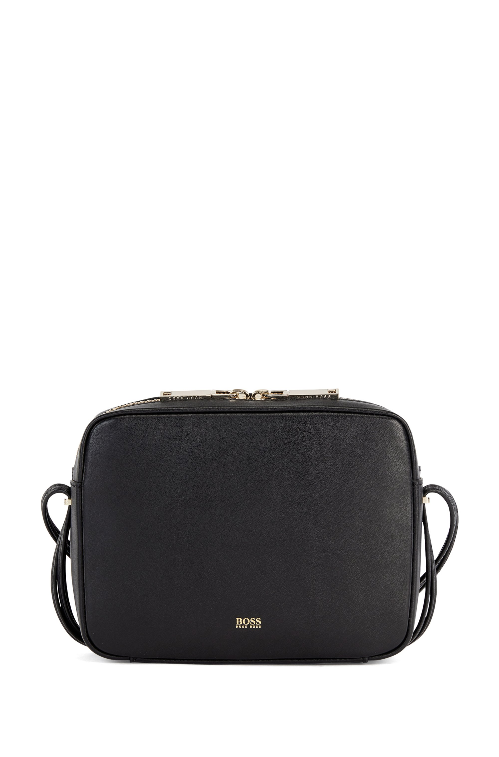 Nappa-leather crossbody bag with hardware-tipped straps, Black