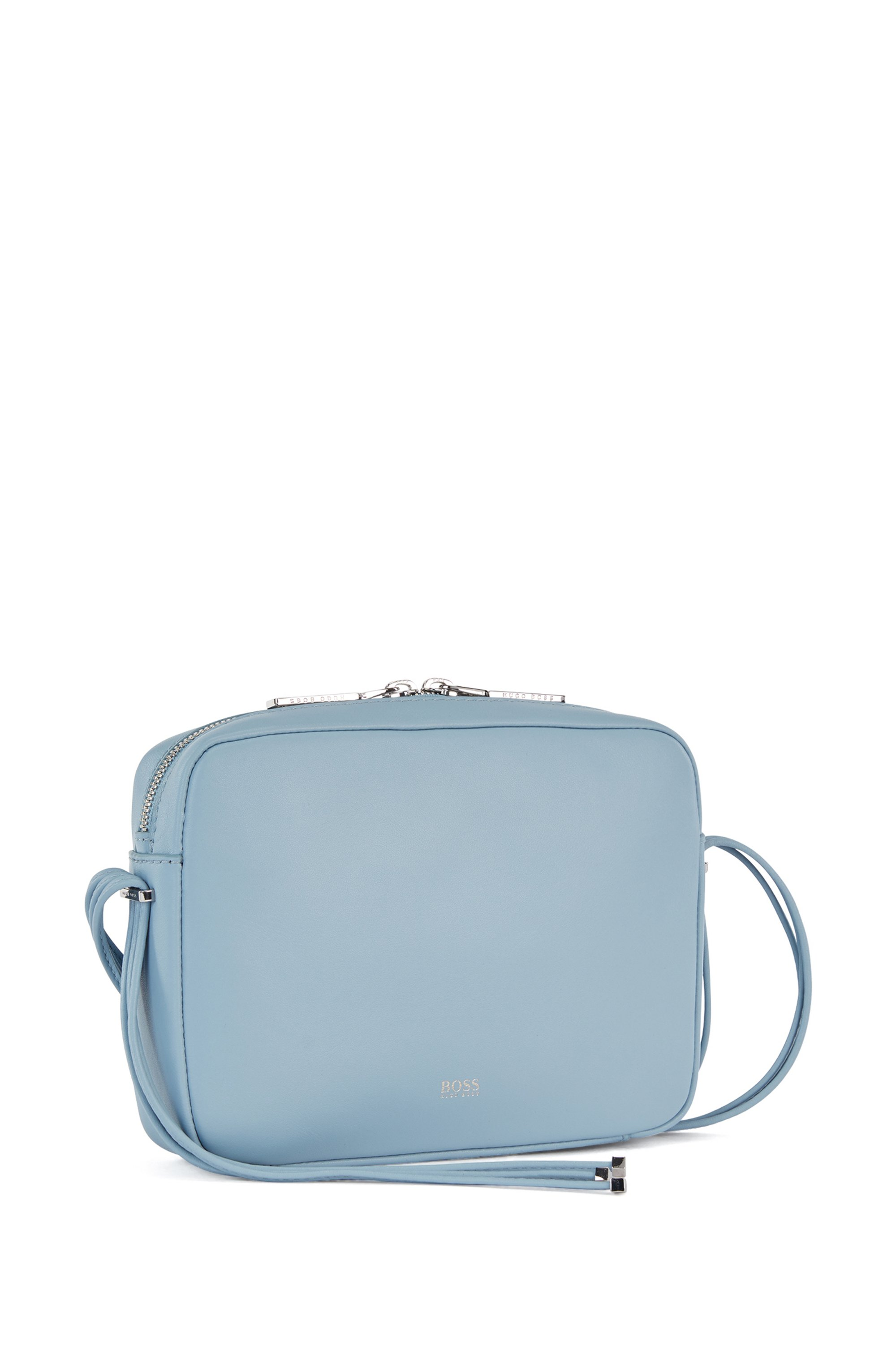 Nappa-leather crossbody bag with hardware-tipped straps, Light Blue