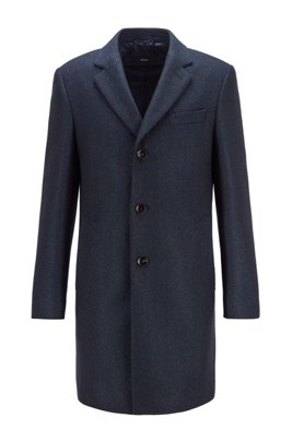 Slim-fit blazer-style coat with herringbone structure, Light Blue