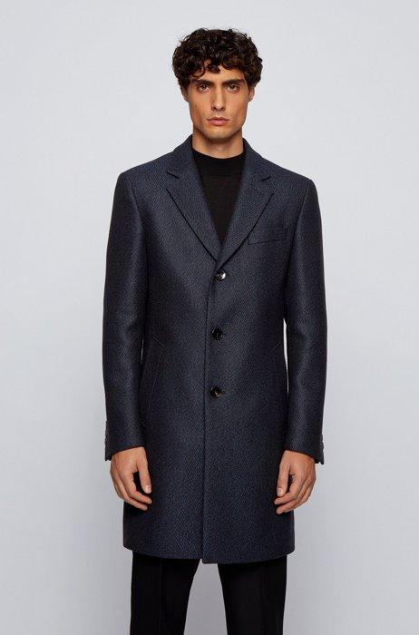 Slim-fit blazer-style coat with herringbone structure, Light Blue
