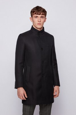 Slim-fit coat in water-repellent cotton, Black