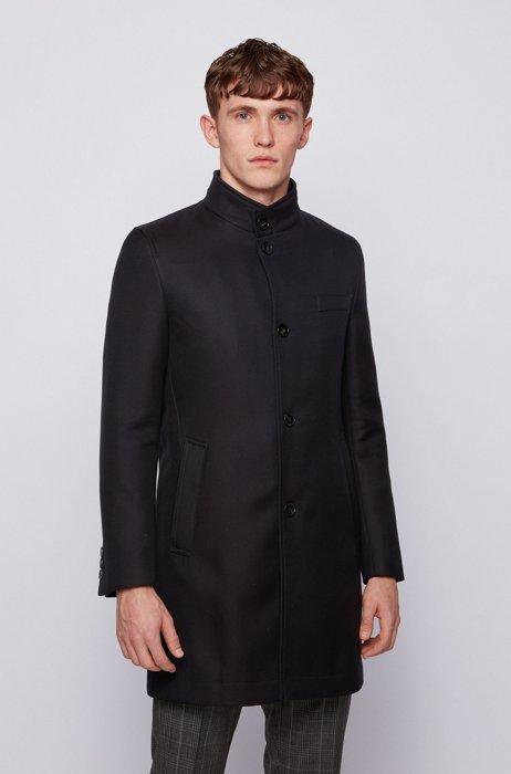 Manteau Slim Fit en coton déperlant, Noir