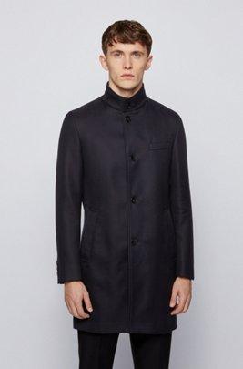 Slim-fit coat in water-repellent cotton, Dark Blue