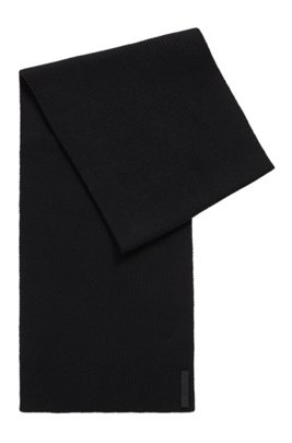 Cotton-blend ribbed scarf with silicone logo badge, Black