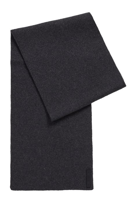 Cotton-blend ribbed scarf with silicone logo badge, Dark Grey
