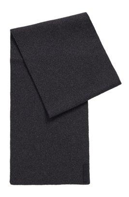 Gerippter Schal aus Baumwoll-Mix mit Silikon-Logo, Dunkelgrau