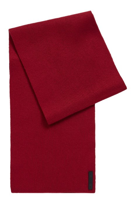 Cotton-blend ribbed scarf with silicone logo badge, Dark Red