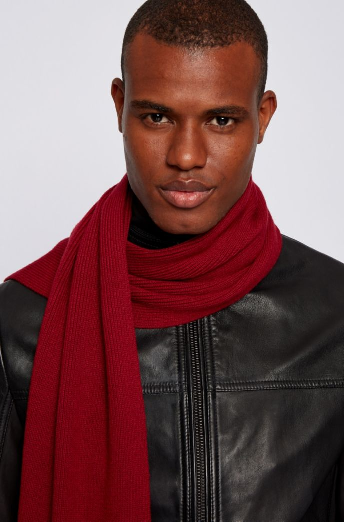 Cotton-blend ribbed scarf with silicone logo badge