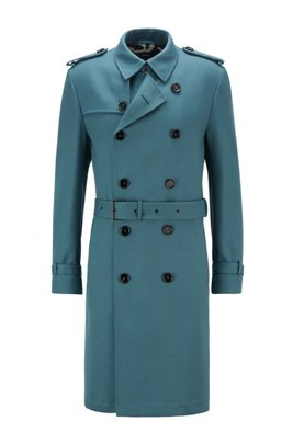 Regular-fit trench coat with logo lining, Turquoise