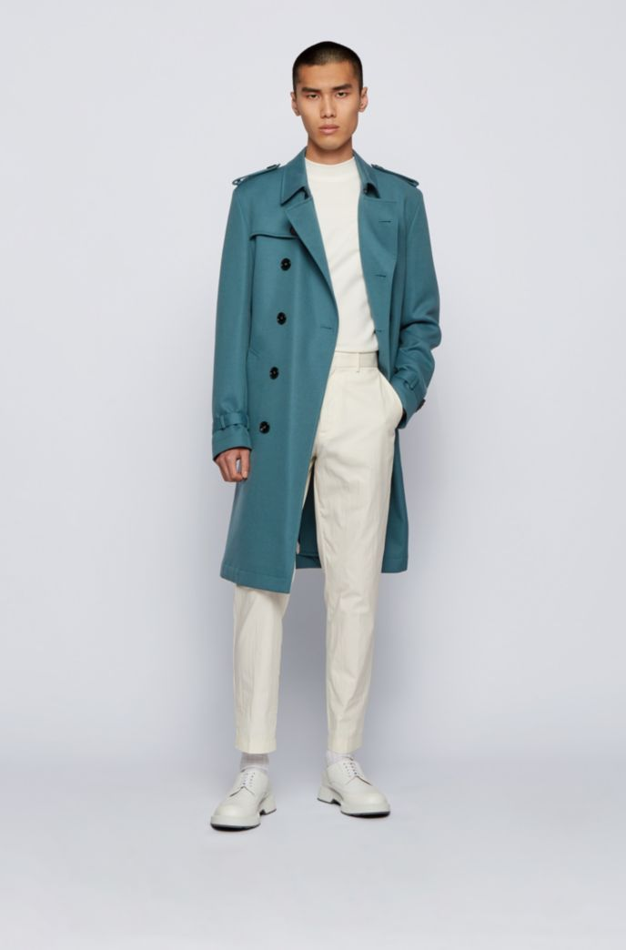 Regular-fit trench coat with logo lining