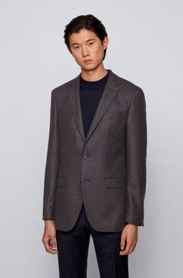 Slim-fit jacket in wool-blend bouclé, Brown